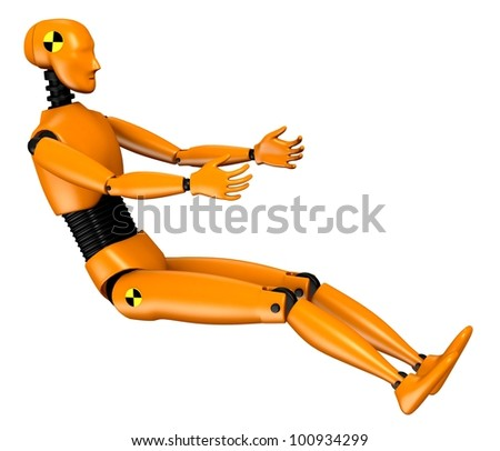 3d  render of car test dummy - stock photo