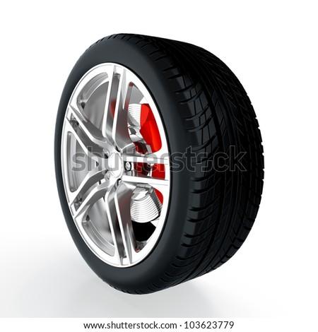 3D render of car wheel on white background - stock photo