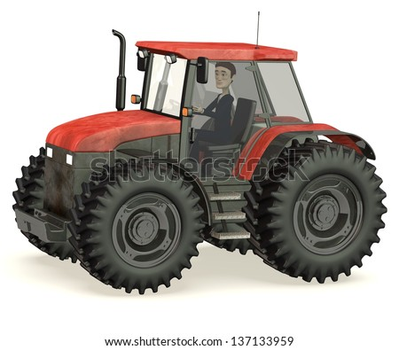 3d render of cartoon character in tractor