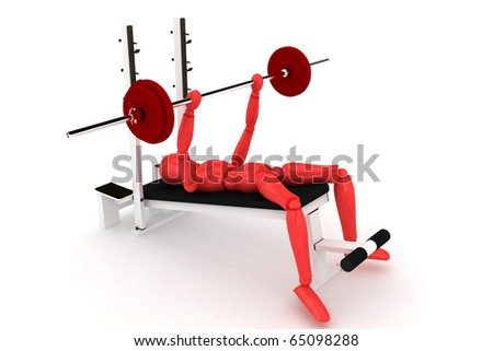 3d render of cartoon character making excercise - stock photo