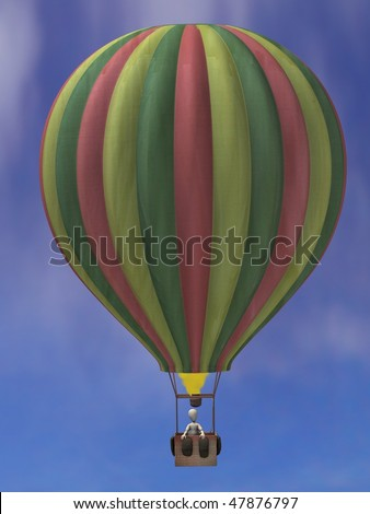 3d render of cartoon character on balloon