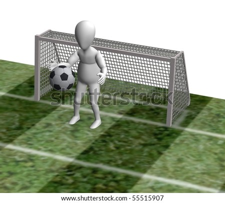 3d render of cartoon character playing soccer