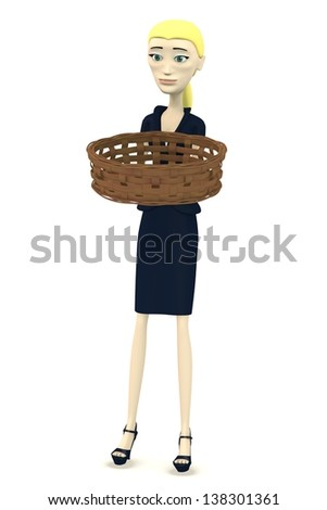 3d render of cartoon character with basket