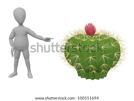 3d render of cartoon character with cactus