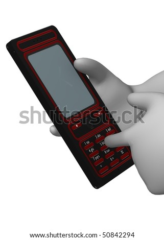 3d render of cartoon character with cell phone