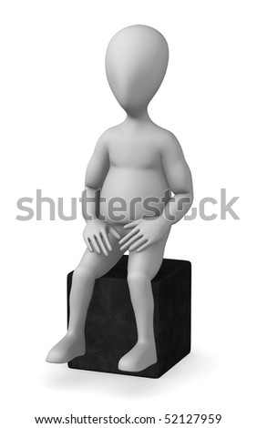 3d render of cartoon character with chair