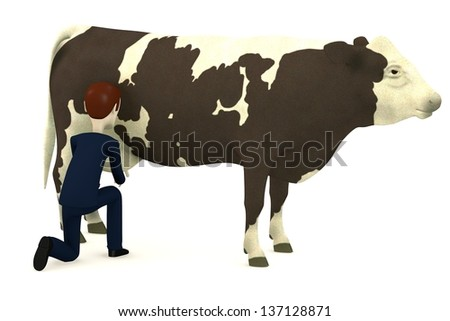 3d render of cartoon character with cow