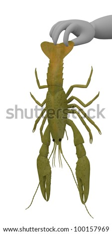 3d render of cartoon character with crayfish - stock photo