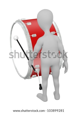3d render of cartoon character with drum