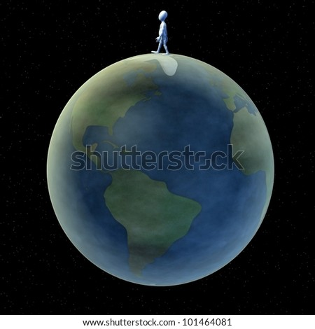 3d render of cartoon character with earth