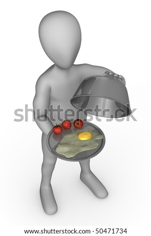 3d render of cartoon character with food - stock photo