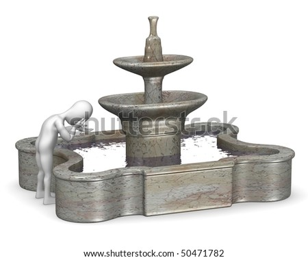 3d render of cartoon character with fountain - stock photo