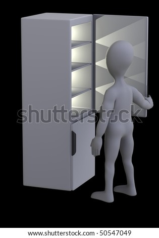 3d render of cartoon character with fridge