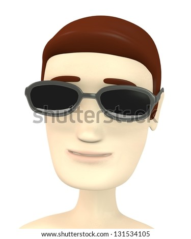 3d render of cartoon character with glasses