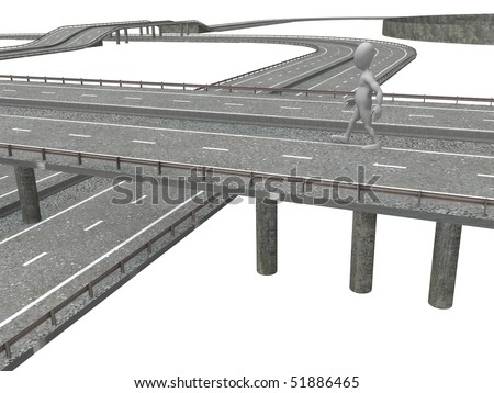 3d render of cartoon character with highway