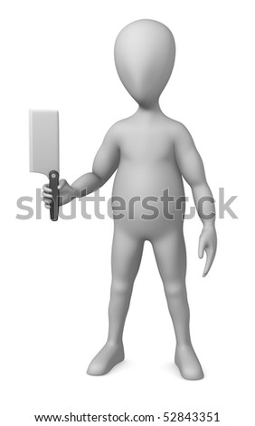 3d render of cartoon character with knife