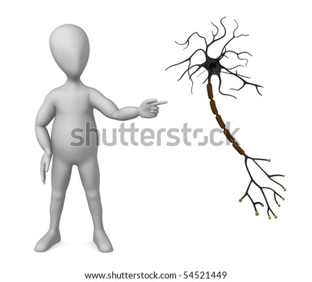3d render of cartoon character with neuron - stock photo