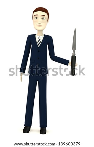 3d render of cartoon character with office knife