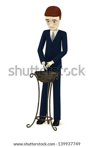 3d render of cartoon character with old basin - stock photo