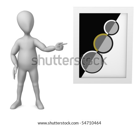 3d render of cartoon character with picture