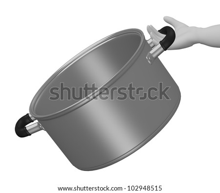 3d render of cartoon character with pot - stock photo