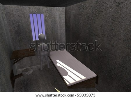 3d render of cartoon character with prison cell