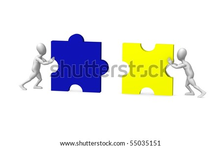 3d render of cartoon character with puzzle