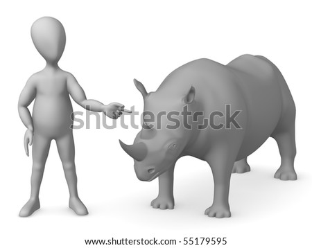 3d render of cartoon character with rhino - stock photo
