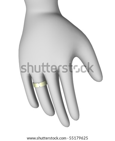 3d render of cartoon character with ring