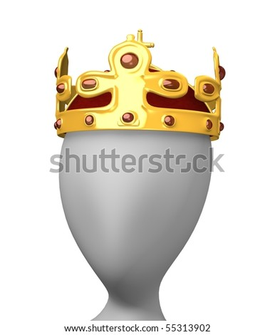 3d render of cartoon character with royal jewel - stock photo