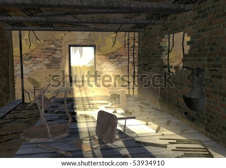 3d render of cartoon character with ruined room - stock photo