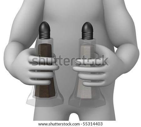 3d render of cartoon character with salt/pepper flask - stock photo