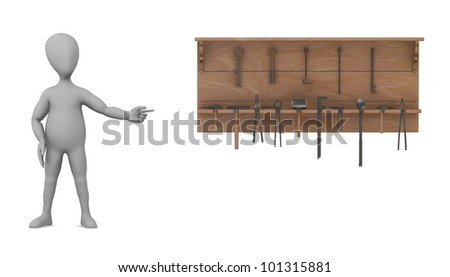 3d render of cartoon character with shelf and tools