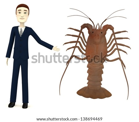 3d render of cartoon character with spiny lobster - stock photo