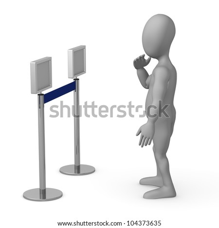 3d render of cartoon character with stand barriers