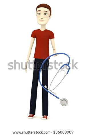 3d render of cartoon character with stethoscope