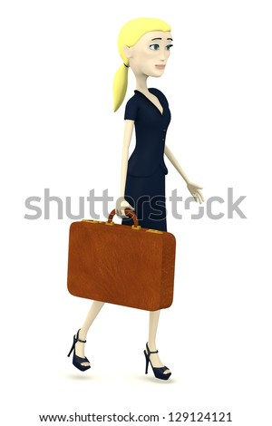 3d render of cartoon character with suitcase