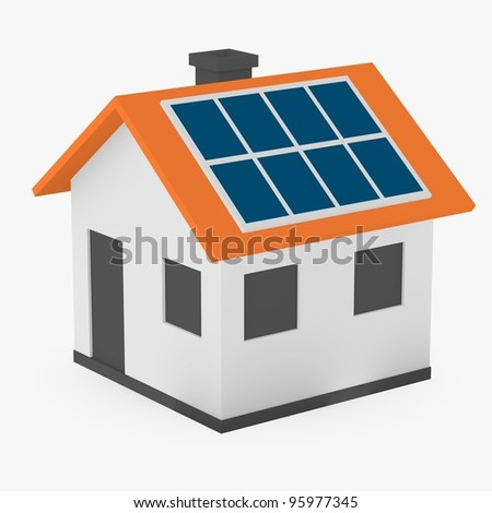 3d render of cartoon house with solar panels - stock photo