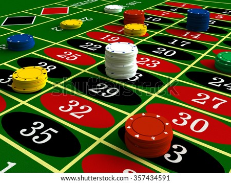 3d render of casino roulette and chips - stock photo