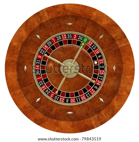 3d render of casino roulette over white background