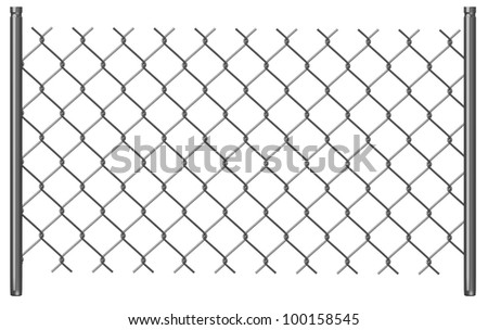 3d render of chain fence - stock photo
