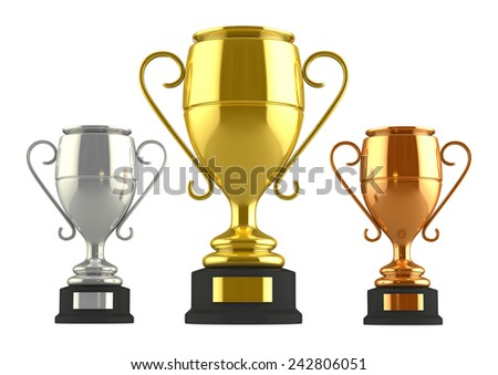 3d render of champion cups isolated over white background - stock photo