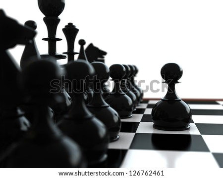 3d render of chess pieces and spawn in front - stock photo