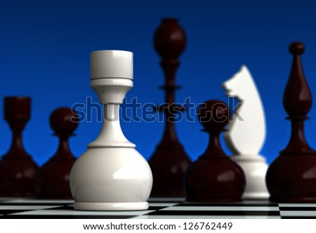3d render of chess pieces on blue background - stock photo