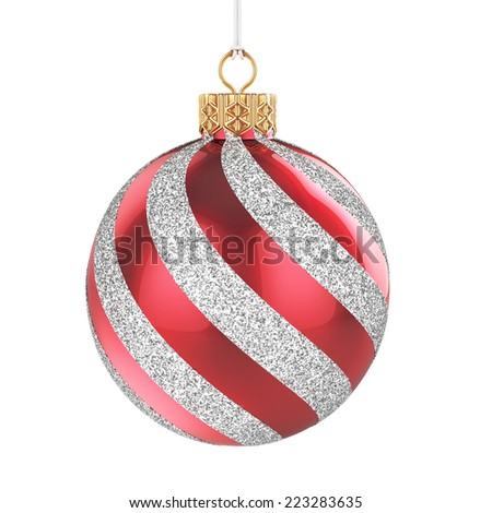 3d render of christmas ball isolated on white background - stock photo