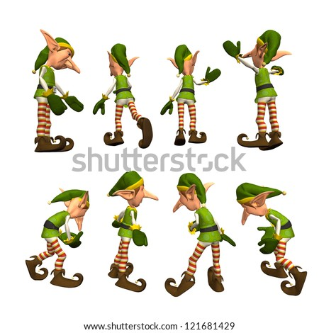 3D render of Christmas Elves - stock photo