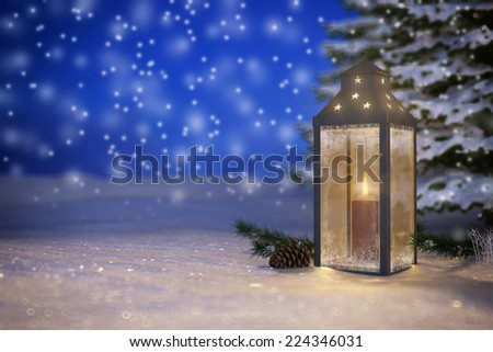 3d render of christmas lantern in the snow at dusk - stock photo