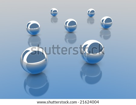 3D render of Chrome balls on a blue gradient surface. - stock photo
