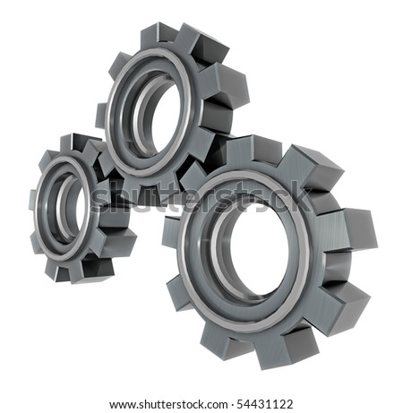 3D render of chunky metal gears - stock photo