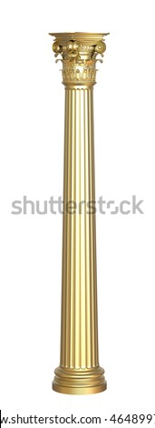 3d render  of classic golden column on a white background